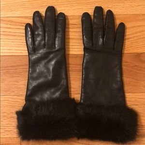 Fownes leather gloves with fur